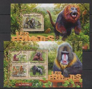 TG012 2016 TOGO FAUNA WILD ANIMALS PRIMATES MONKEYS LES SINGES KB+BL MNH