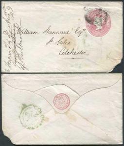 EP4b QV 1d Pink Envelope Size B SP2 Paper Used Torn Corner