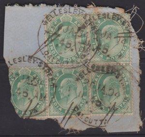 India Sc#61 Used - block on piece - postmark interest