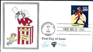 Beautiful Pugh Designed and Painted Circus Ringmaster FDC -only 129 created...