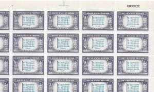 Doyle's_Stamps: MNH Sheet of 1943 Overrun Nations' Greece, Scott #916**