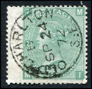 Great Britain - Scott #54 - 1867 QV 1/- Green Plate 5 - Used