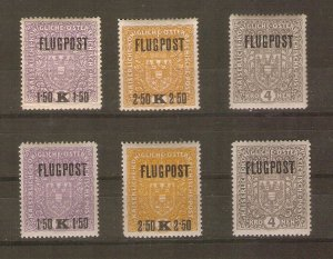 Austria, first airmail issue, 1918, both papers