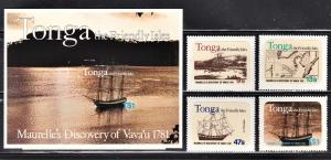 Tonga Scott 489-92a  complete set  F to VF mint.