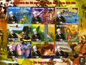 Sao Tome & Principe 2005 SPACE Aircraft Jules Verne Sheet Imperforated mnh.vf