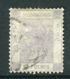 HONG KONG; 1863 classic QV Crown CC issue 6c. used value