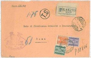 ITALIA REGNO: Sass SEGNATASSE 37 + 40 + 42  su BUSTA - TASSATA TRICOLORE 1942