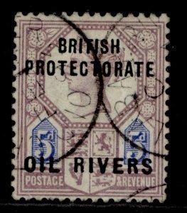NIGERIA - Niger Coast Protectorate QV SG5, 5d dull purple & blue, USED.