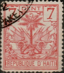 HAÏTI - 1890s Mi.26 7c red Palm Tree used DUTCH SHIP CANCEL