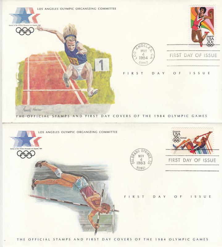 ​  USA - 1984 Olympic games , FDC The long jump and the pole vault (1325)