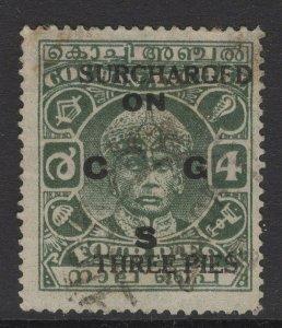 INDIA-COCHIN SGO63 1943 3p on 4p GREEN p13x13½ USED