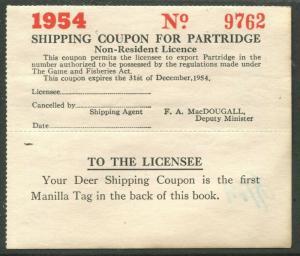 CANADA REVENUE ONTARIO 1954 NON-RESIDENT PARTRIDGE SHIPPING COUPON