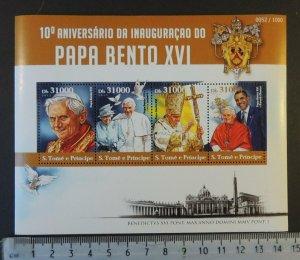 St Thomas 2015 pope benedict xvi religion obama birds m/sheet mnh