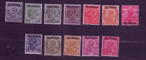 J23692 JLstamps 1937 burma set mh #1-12 india stamps ovpt,s