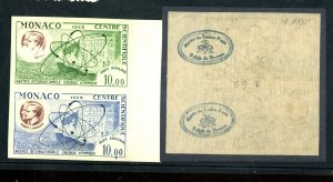 MONACO #C62 MINT IMPERF PAIR MISSING COLORS VF OG NH MUSEUM HAND STAMP ON BAC...