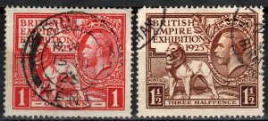 Great Britain #203-4  F-VF Used CV $45.75  (X2812)