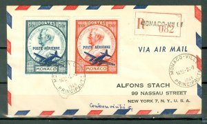 MONACO  AIR #C8-9 on 1949 REGISTERED AIR COVER TO US
