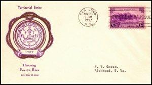 Scott 801 3 Cents Puerto Rico Rice FDC Typed Address Planty 801-12