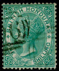 BRITISH HONDURAS SG4, 1s green NO WMK, FINE USED. Cat £130.