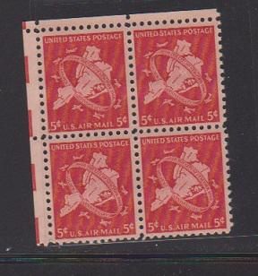 UNITED STATES -AIR MAIL STAMPS #C38  BLOCK MNH.  LOT #US640
