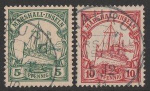 NAURU : 1908 Precursor use of MarshalIs Yacht 5pf & 10pf 'Nauru Marshall Inseln'