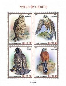 St Thomas - 2021 Birds of Prey, Falcon, Eagle - 4 Stamp Sheet - ST210217a