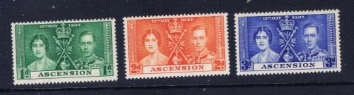 Ascension 37-39 Lightly Hinged; 1937 KGVI Coronation