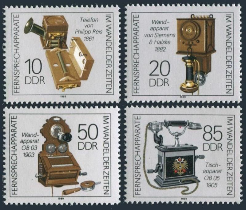 Germany-GDR 2725-2728,MNH.Michel 3226-3229. Telephones,1989.