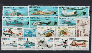 50 HELICOPTER  THEMED STAMPS OFF PAPER - ALL DIFFERENT
