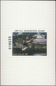 NORTH CAROLINA #15A 1997 STATE DUCK STAMP ADHESIVE TYPE WOOD DUCK Wil Goebel