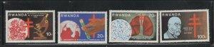 Rwanda #1103-06 (1982 TB Centenary set) VFMNH CV $7.40