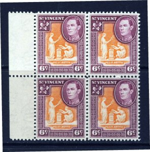ST. VINCENT King George VI 1949 6c Orange & Purple Marginal Block SG 169 MNH
