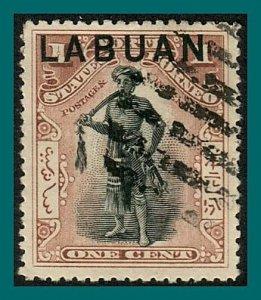 Labuan 1901 Dyak Chief, cancelled  #72a,SG89b