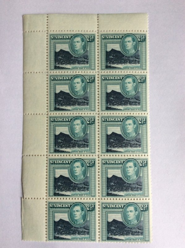 St Vincent George VI 1938 2.5d block of 10 MNH