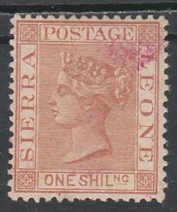 SIERRA LEONE 1884 QV 1/- WMK CROWN CA USED