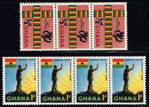 Ghana STAMP MNH COIL STRIP OF 4, 3 STAMPS LOT