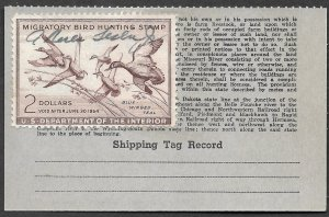 Doyle's_Stamps:  Used #RW20 Federal Duck Stamp of 1953