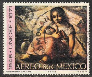 MEXICO C408, 25th Anniv UNICEF painting by Guerrero Used. VF. (232)