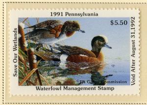 US PA9 PENN STATE DUCK STAMP 1991 MNH SCV $9.00 BIN $5.50