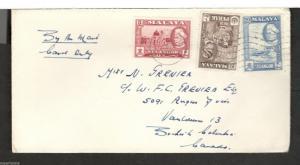 1958 cover Kuala Lumpur, Malaya - Vancouver BC Perak #132 Selangor #105 & 108