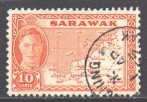 Sarawak Scott 195 - SG186, 1952 George VI 10c Map used