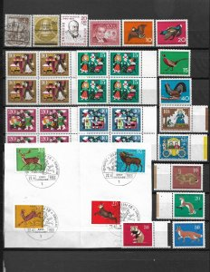 COLLECTION LOT OF 34 GERMANY BERLIN SEMI POSTAL STAMPS 1953+