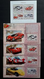 Ferrari cars - Congo 2006 - sheet + complete set of 4 ss imperf ** MNH