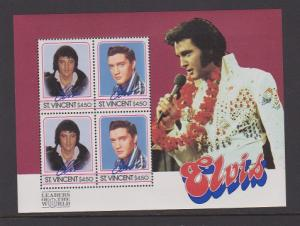 ST.VINCENT  STAMPS MNH OF ELVIS PRESLEY S/S (4) .LOT#445a-b-c
