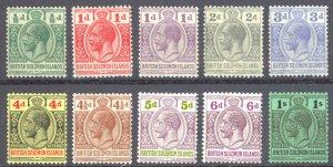 Solomon Islands Sc# 43-52 MH 1922-1931 1/2p-1sh KGV Inscribed Postage-Revenue