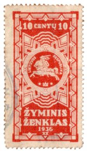 (I.B) Lithuania Revenue : Duty Stamp 10c