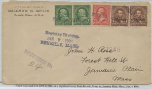 GUAM #4 (2x) ON REGISTERED MAIL MISUSED POSTAGE CV $450 BS8477 HS108G