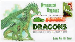 18-171, 2018, Dragons, First Day Cover, Digital Color Postmark, Green Dragon