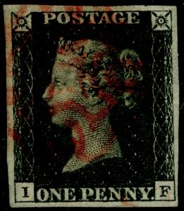 SG2, 1d black PLATE 5, FINE USED Cat £400. RED MX. 4 MARGINS. IF