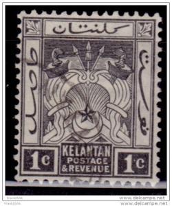 Malaya Kelantan, 1921-28, 1c black, Scott# 15, used